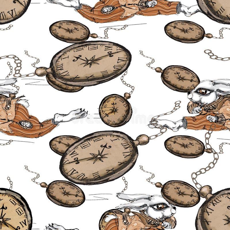 Alice nel paese delle meraviglie che esegue il modello senza cuciture del coniglio bianco sul fondo d'annata di lerciume royalty illustrazione gratis