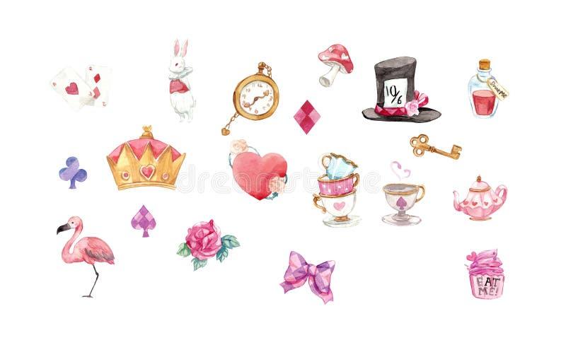 Alice nell'acquerello grafico degli elementi del paese delle meraviglie ha messo con clpping illustrazione di stock