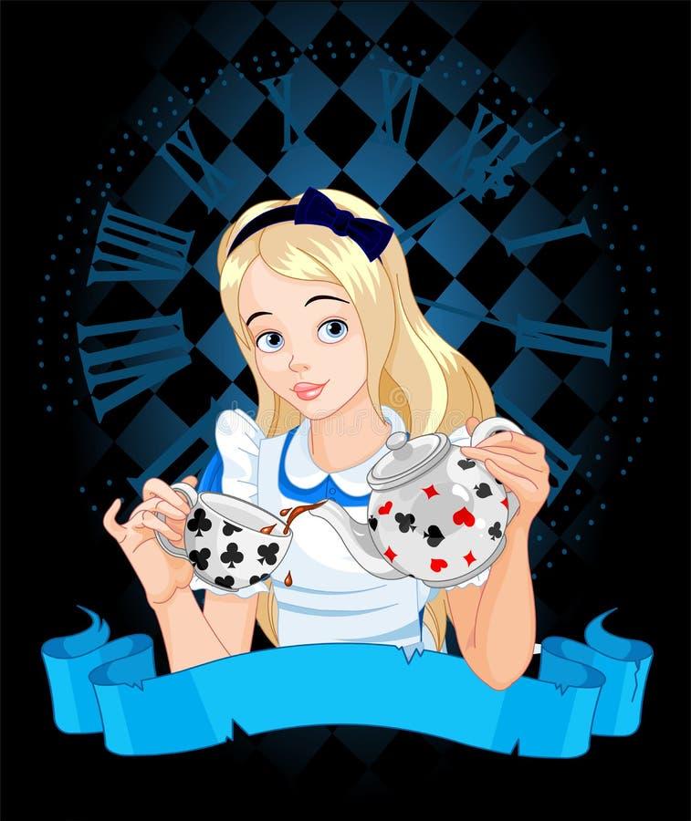 Alice nimmt Teeschale lizenzfreie abbildung
