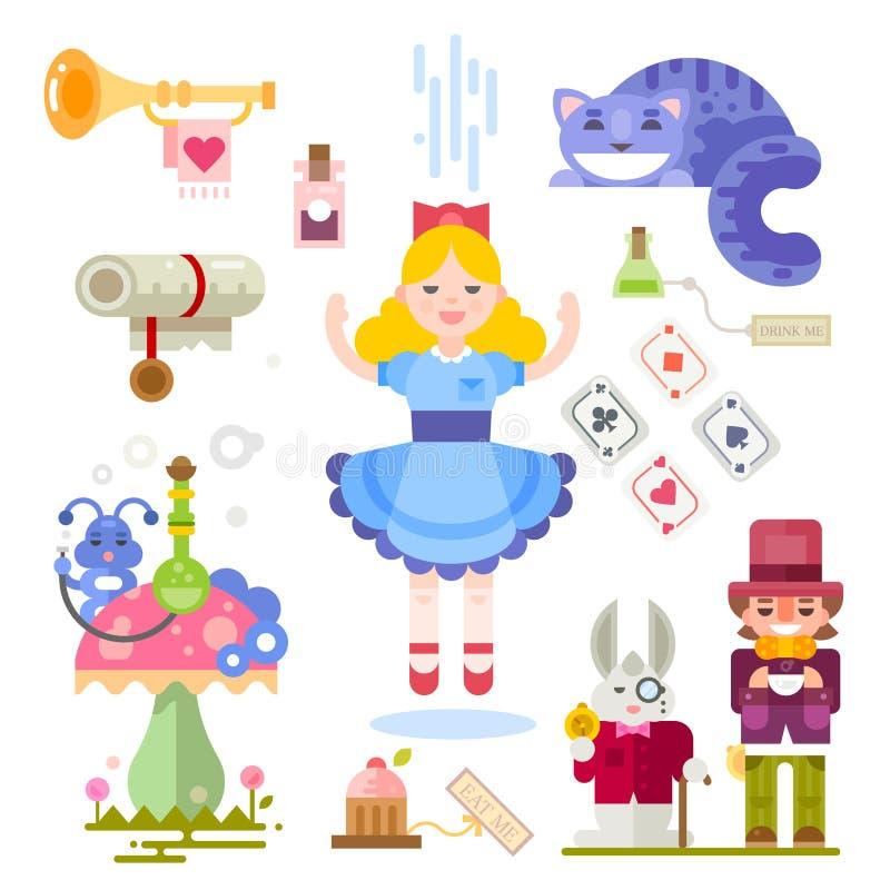 Alice no país das maravilhas ilustração do vetor