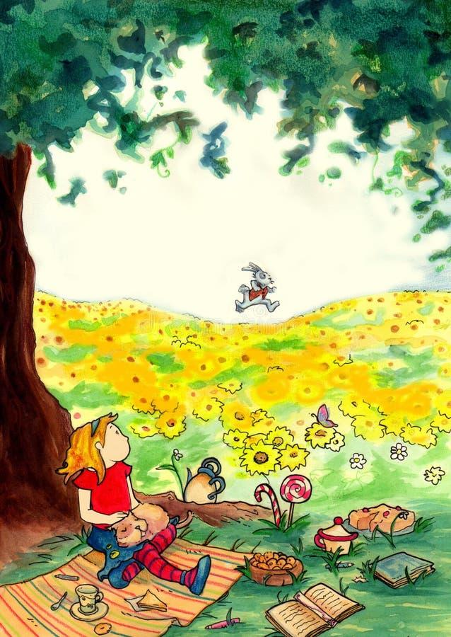 Alice no país das maravilhas ilustração stock