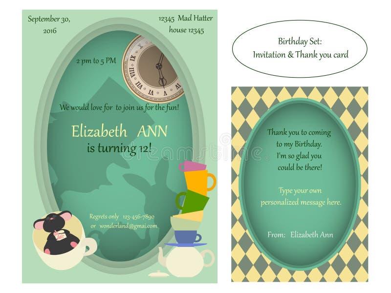 Alice no país das maravilhas Convite louco do aniversário do tea party ilustração stock
