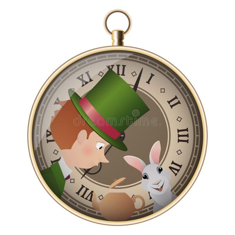 Alice no país das maravilhas Tea party louco Chapeleiro e coelho branco ilustração do vetor