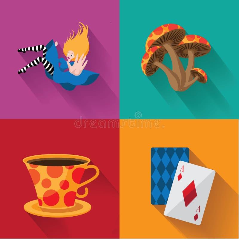 Alice no pop art do país das maravilhas ilustração stock