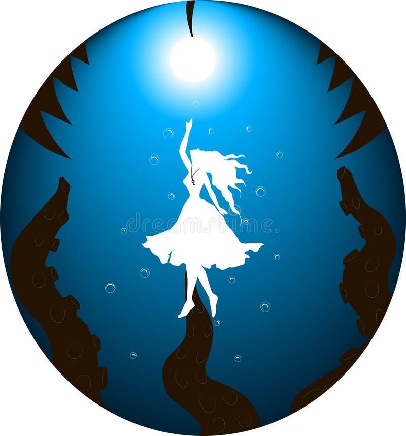 Alice onderwater stock illustratie