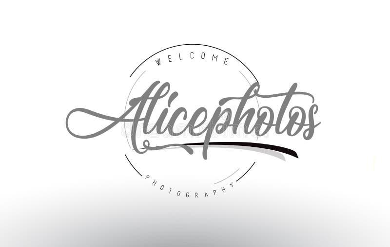 Alice Personal Photography Logo Design com fotógrafo Name ilustração royalty free