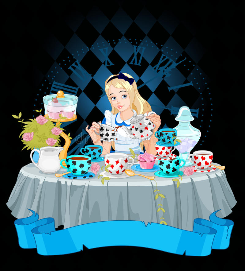 Alice prend la tasse de thé illustration de vecteur