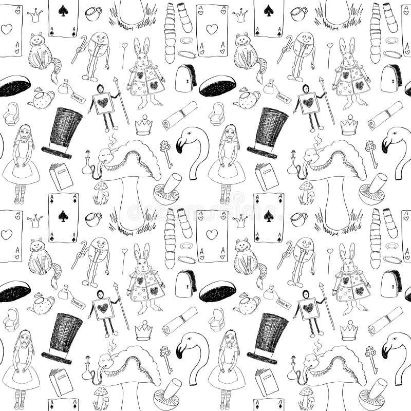 Alice sömlös textur vektor illustrationer