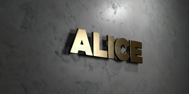 Alice - sinal do ouro montado na parede de mármore lustrosa - 3D rendeu a ilustração conservada em estoque livre dos direitos ilustração royalty free