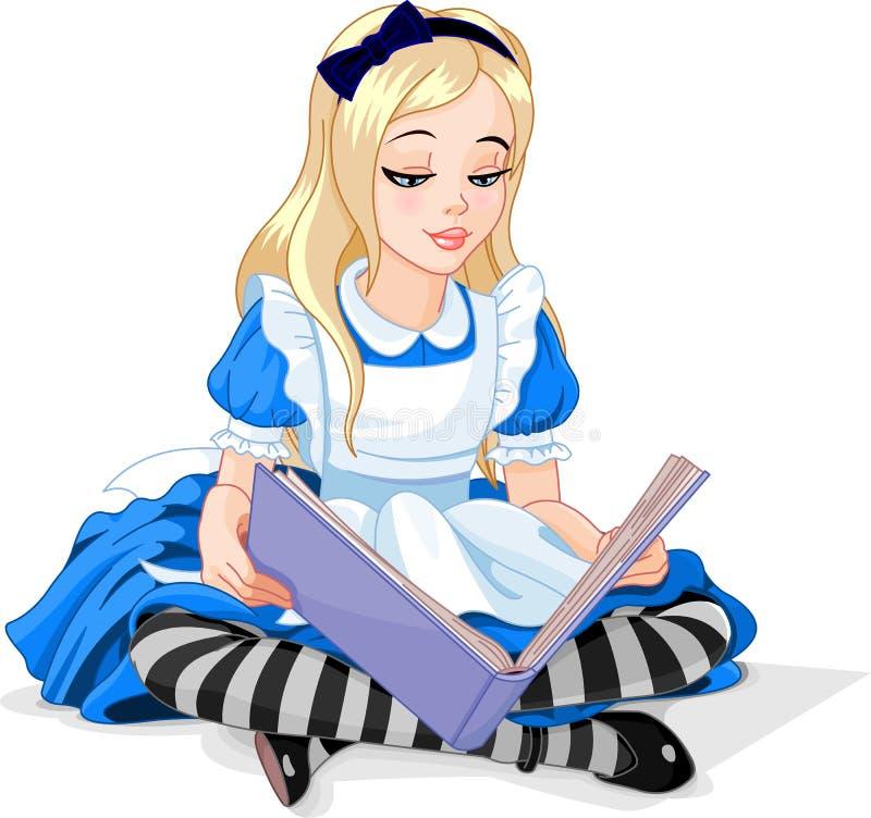 Alice som läser en bok vektor illustrationer