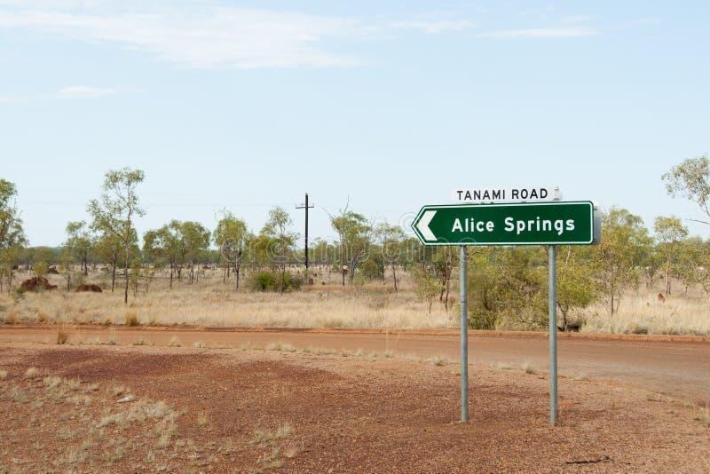 Alice Springs Road Sign - l'Australia fotografia stock libera da diritti