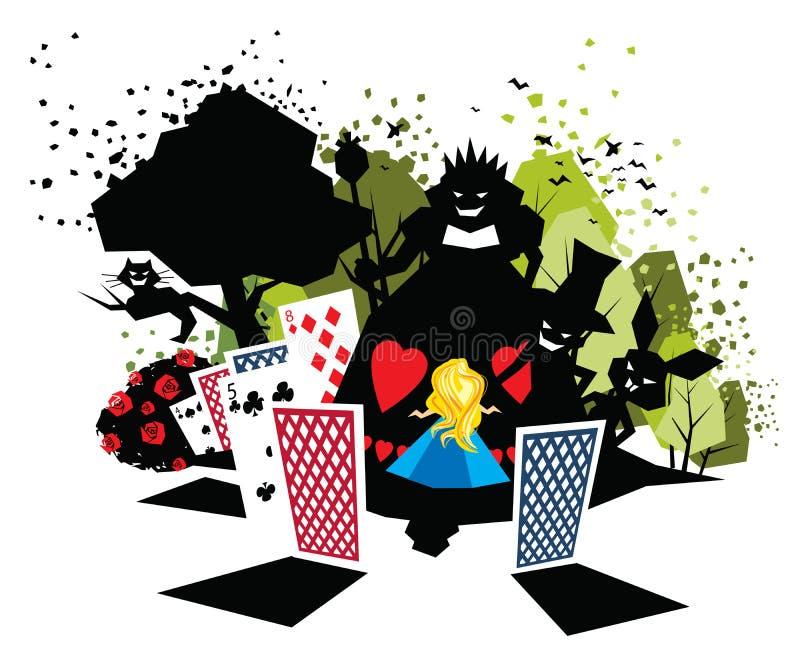 Alice in sprookjesland royalty-vrije illustratie