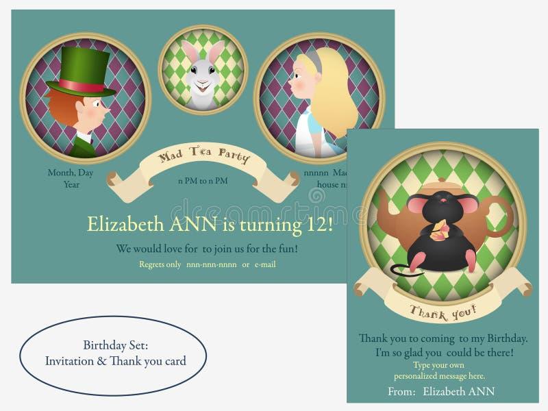 Alice in sprookjesland De gekke Uitnodiging van de theekransjeverjaardag vector illustratie