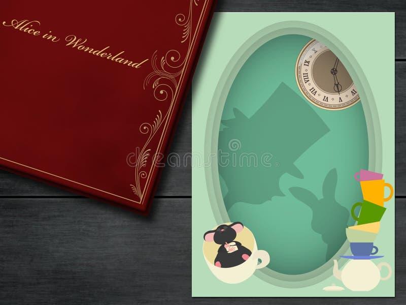 Alice in sprookjesland Gek Theekransje Hoedenmaker, Slaapmuis, Wit Konijn vector illustratie