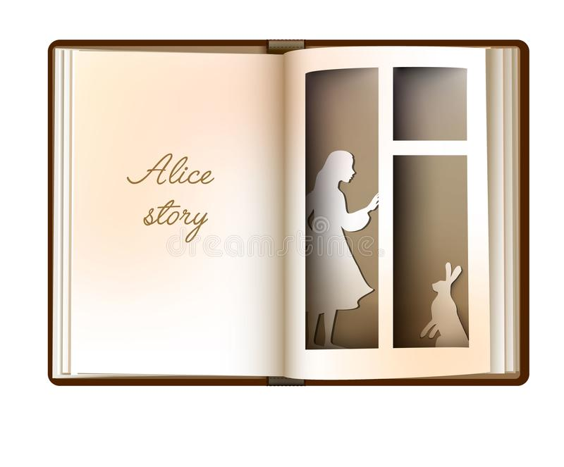 Alice story idea, reading and imagination concept, vintage empty book page looks like window with girl silhouette and vector illustration