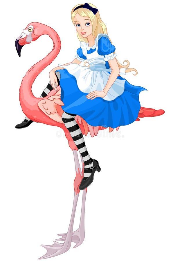 Alice sul fenicottero illustrazione di stock