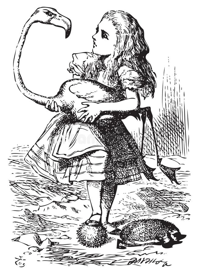 Free Alice Trying To Play Croquet With Flamingo And Hedgehog - Alice`s Adventures In Wonderland Original Vintage Engraving Stock Images - 163026554