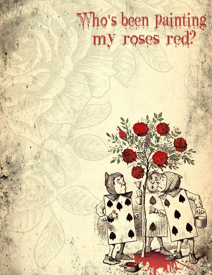 Alice w kraina cudów Martwiącym Grunge papierze karta do gry - Zakłopotany Digital papieru projekt - Malować róże - royalty ilustracja