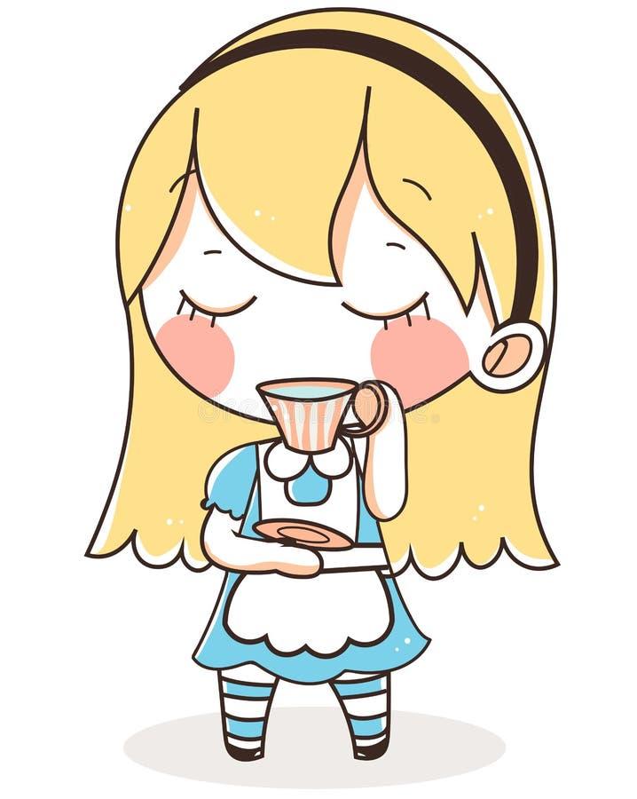alice w krainy cudów błękita sukni herbacie śliczna ilustracja ilustracji