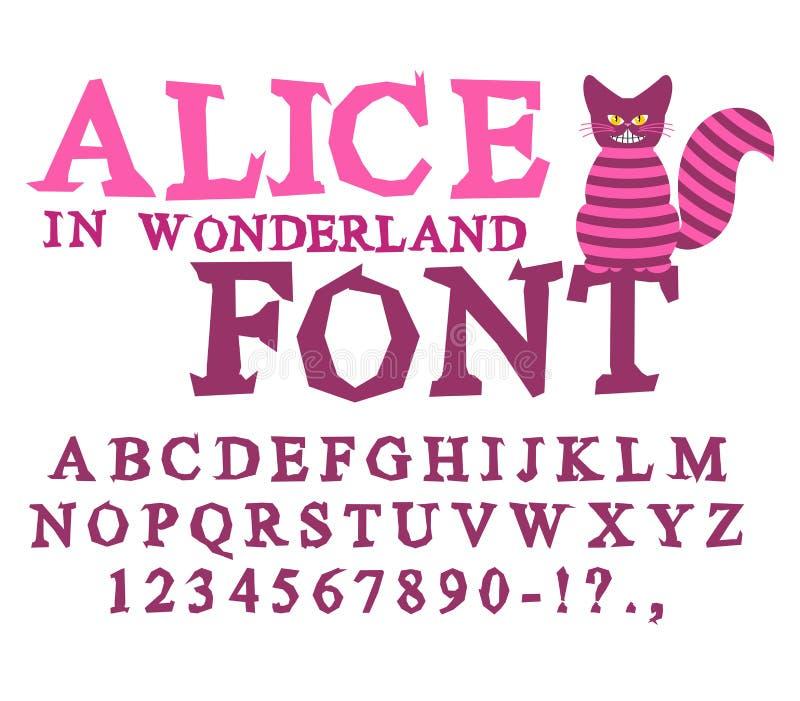 Alice w krainy cudów chrzcielnicie Czarodziejka ABC szalenie abecadła Cheshire kot ilustracja wektor