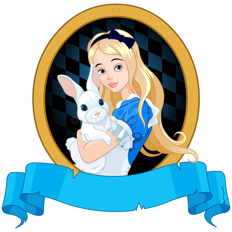 Alice with White Rabbit. Illustration of Alice holds white rabbit stock illustration