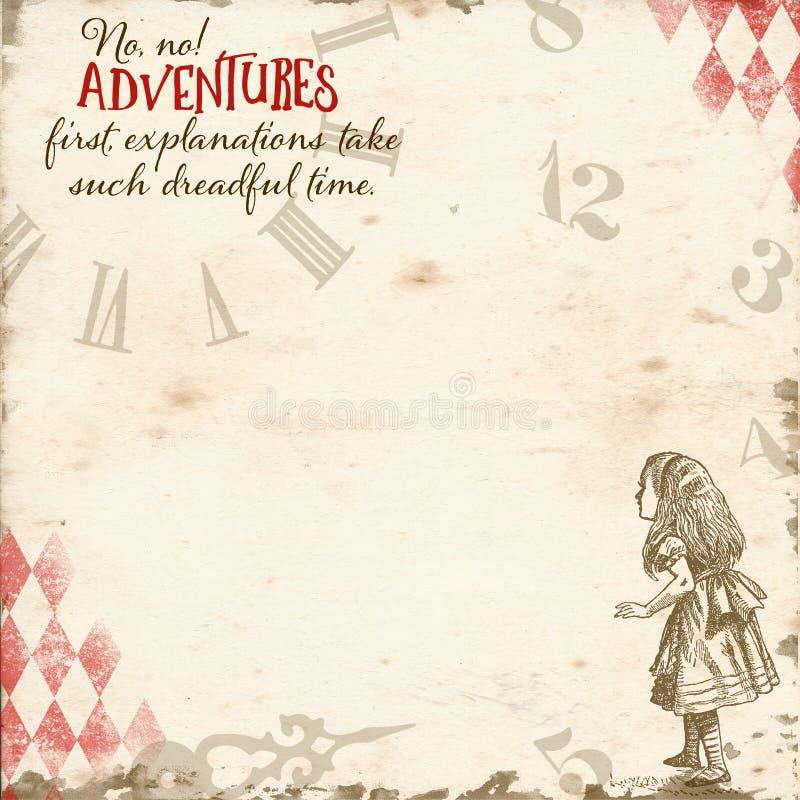 Alice In Wonderland - Abenteuer-erstes- Uhr-Papier - Einklebebuch - Hintergrund - launisch stock abbildung