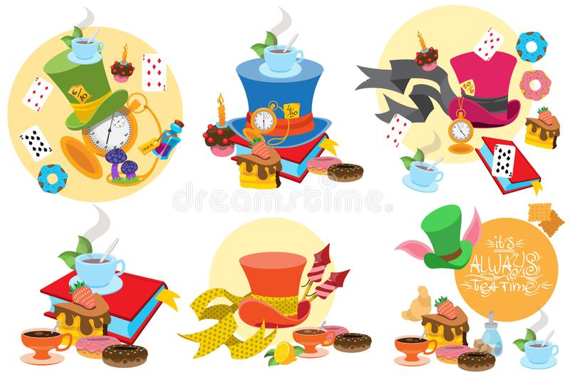 Alice in Wonderland characters and elements stock photo