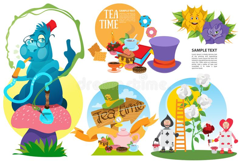 Alice in Wonderland characters and elements stock image