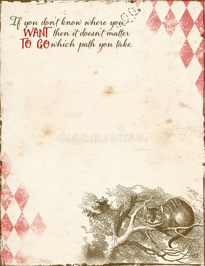 Alice in Wonderland - Cheshire Cat - Cat in Tree - Letter Size Background Paper. Alice in Wonderland theme collage paper background with harlequin textures royalty free illustration