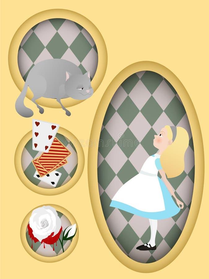 Alice in Wonderland. Cheshire cat, white rose, cards. Book illustration. Book illustration. Alice in Wonderland. Cheshire cat, white rose cards vector illustration