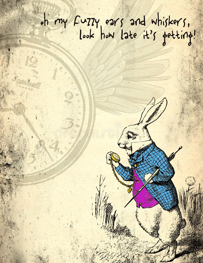 Alice in Wonderland Distressed Grunge Paper - March Hare - Whimsical Pocket Watch Scrapbook Paper. Collage background paper design featuring the whimsical March stock illustration