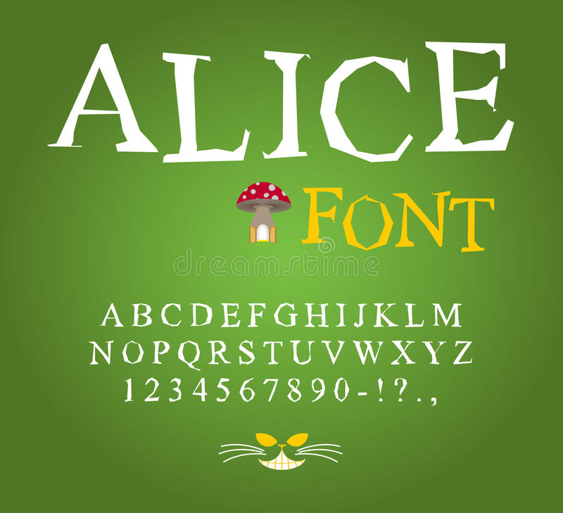 Alice in Wonderland font. Fairy ABC. mad Alphabet Cheshire Cat. Set of letters. Magical beast with long striped tail stock illustration