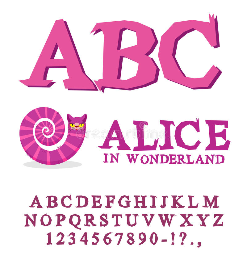 Alice in Wonderland font. Fairy ABC. mad Alphabet Cheshire Cat. Set of letters. Magical beast with long striped tail vector illustration