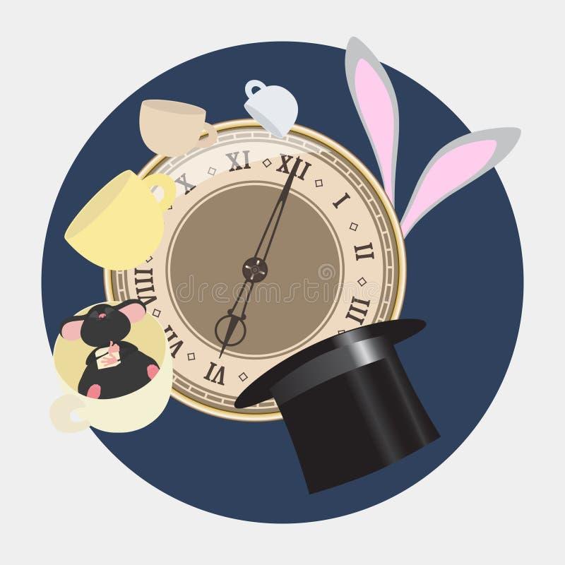 Alice in Wonderland. Mad tea party with Hatter, Dormouse, White Rabbit. Alice in Wonderland. Retro illustration. royalty free illustration