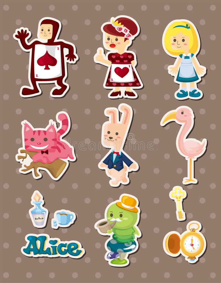 Download Alice In Wonderland Stickers Stock Vector - Illustration: 26336010