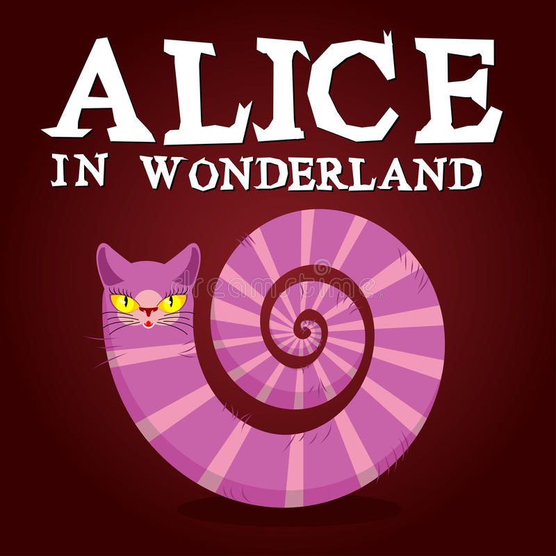 Alice in Wonderland title. Cheshire Cat. Fantastic animal. Fabulous striped animal with long tail royalty free illustration