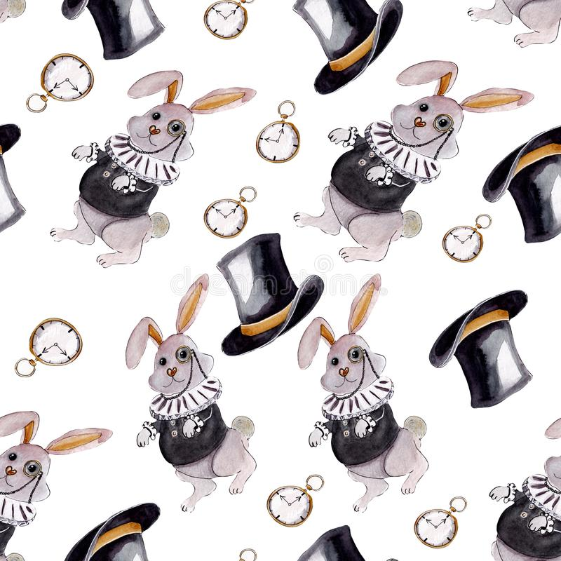 Alice in Wonderland tribute seamless pattern with rabbit royalty free stock photos