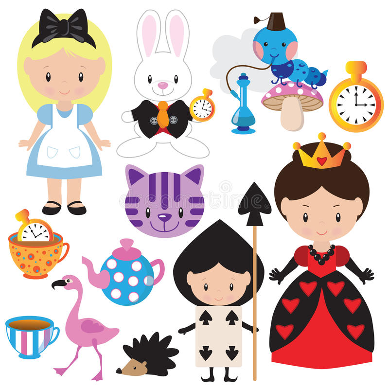 Alice in Wonderland vector illustration stock photos