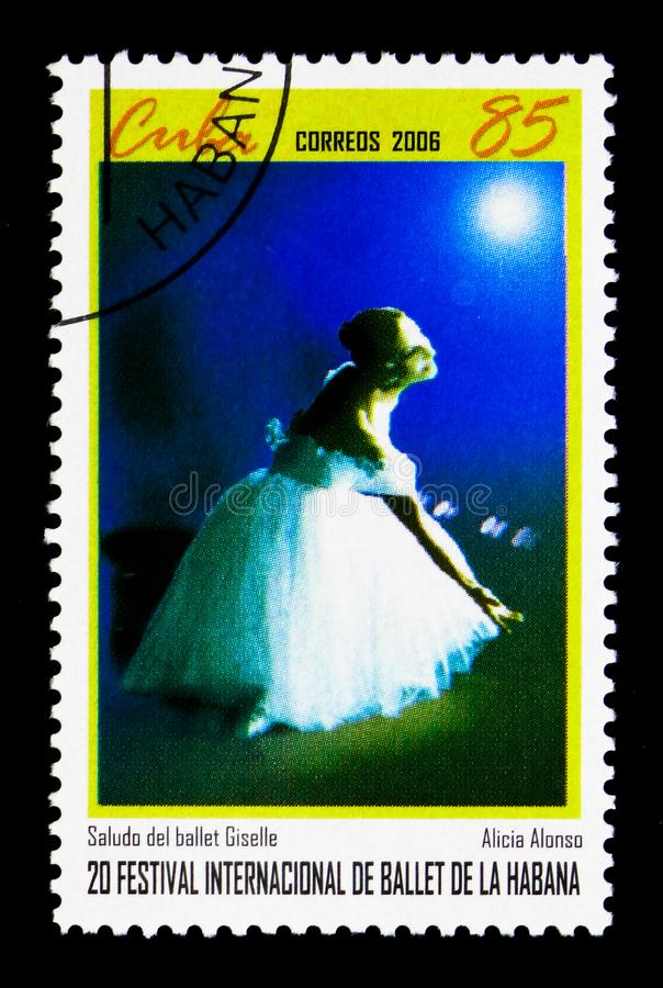Alicia Alonso, 20th International Ballet Festival, Havana serie. MOSCOW, RUSSIA - MARCH 28, 2018: A stamp printed in Cuba shows Alicia Alonso, 20th International stock photos