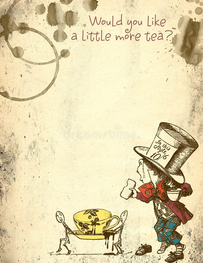 Alicia en papel apenado país de las maravillas del Grunge - sombrerero enojado - manchas del té - papel del libro de recuerdos de stock de ilustración