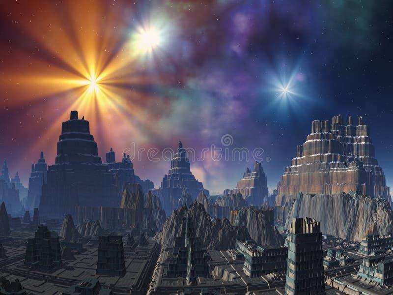 alien дезертированный город иллюстрация штока