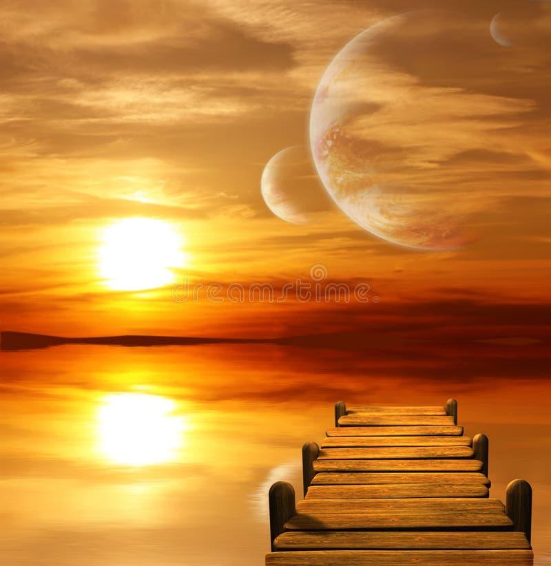 alien заход солнца планеты иллюстрация вектора