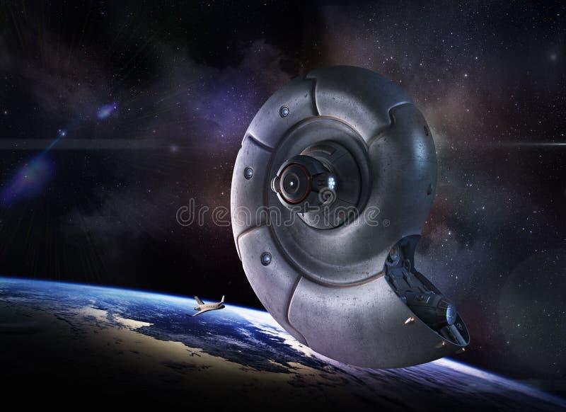alien космос корабля иллюстрация вектора