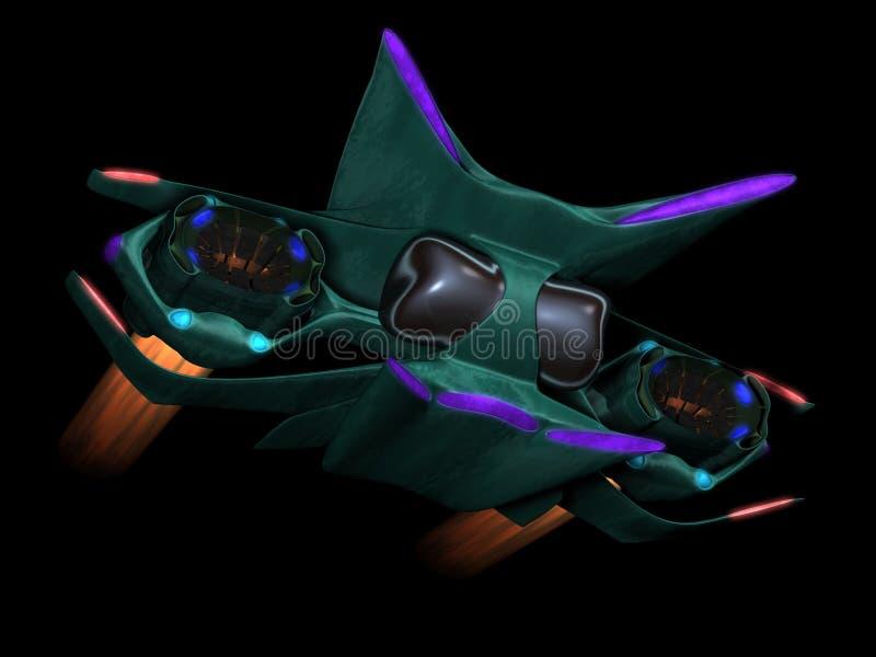 alien передний взгляд космоса корабля иллюстрация вектора