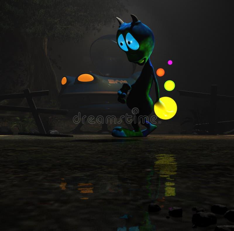 alien персонаж из мультфильма волшебный иллюстрация штока