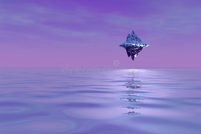 alien плавая остров иллюстрация вектора
