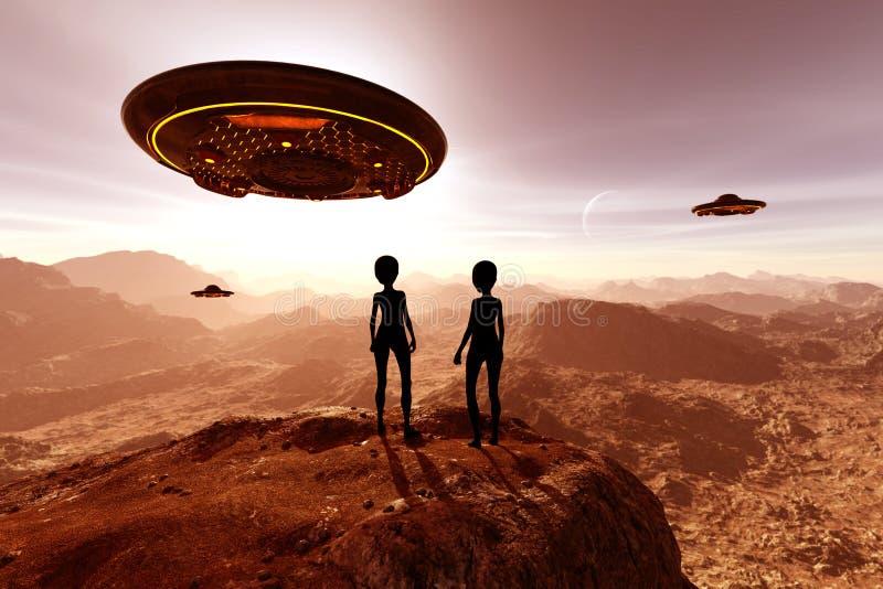 alien планета 3d представила scifi пейзажа бесплатная иллюстрация
