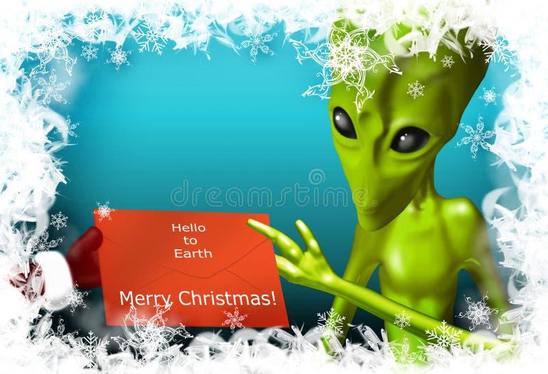 alien приветствия рождества иллюстрация штока