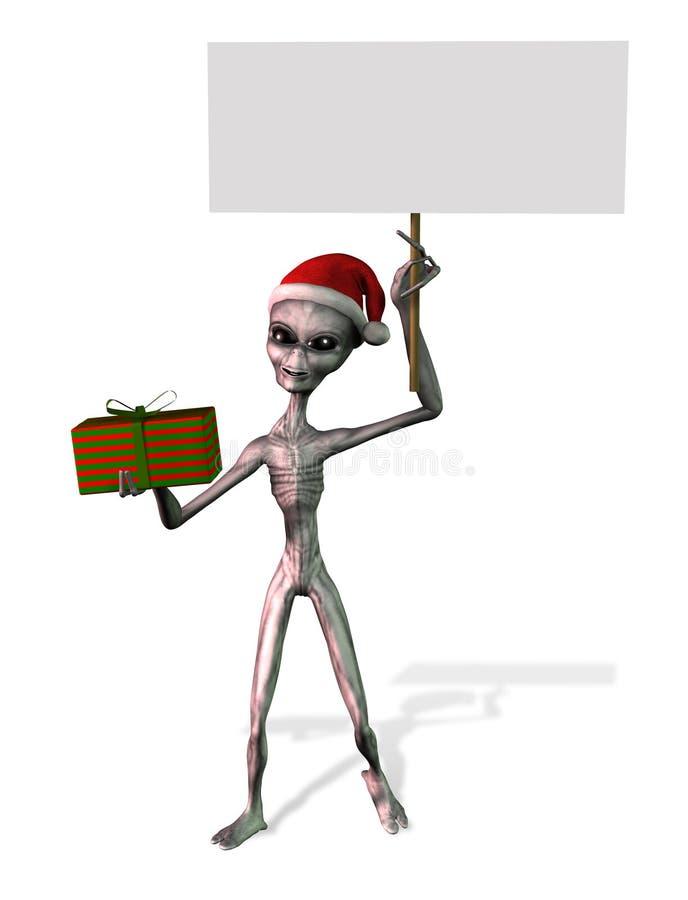 alien пустой знак путя клиппирования рождества иллюстрация вектора