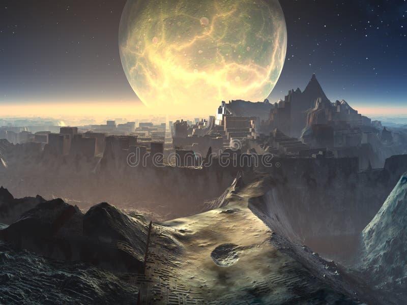 alien руины лунного света города иллюстрация штока